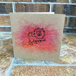 Greeting Card - Andy the Lion - Sewn Illustrations -Sewn Art