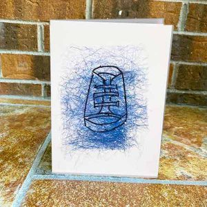 Greeting Card - Bootie Blue- Sewn Illustrations -Sewn Art