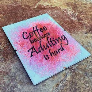 Medium Frame - Coffee Because Adulting is Hard - Illustrations -Sewn Art - Funny
