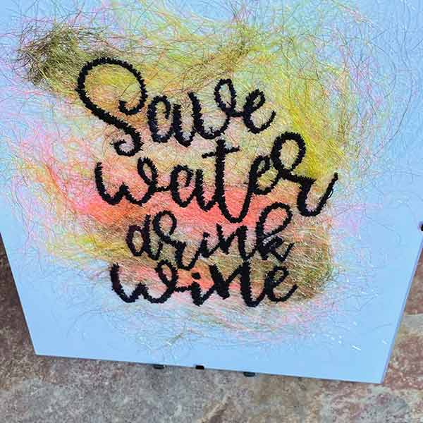Large Frame - Save Water Drink wine - Sewn Illustrations -Sewn Art