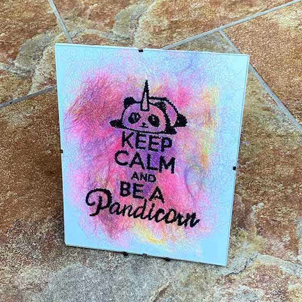 Large Frame - Keeo calm and be a pandicorn- Sewn Illustrations -Sewn Art